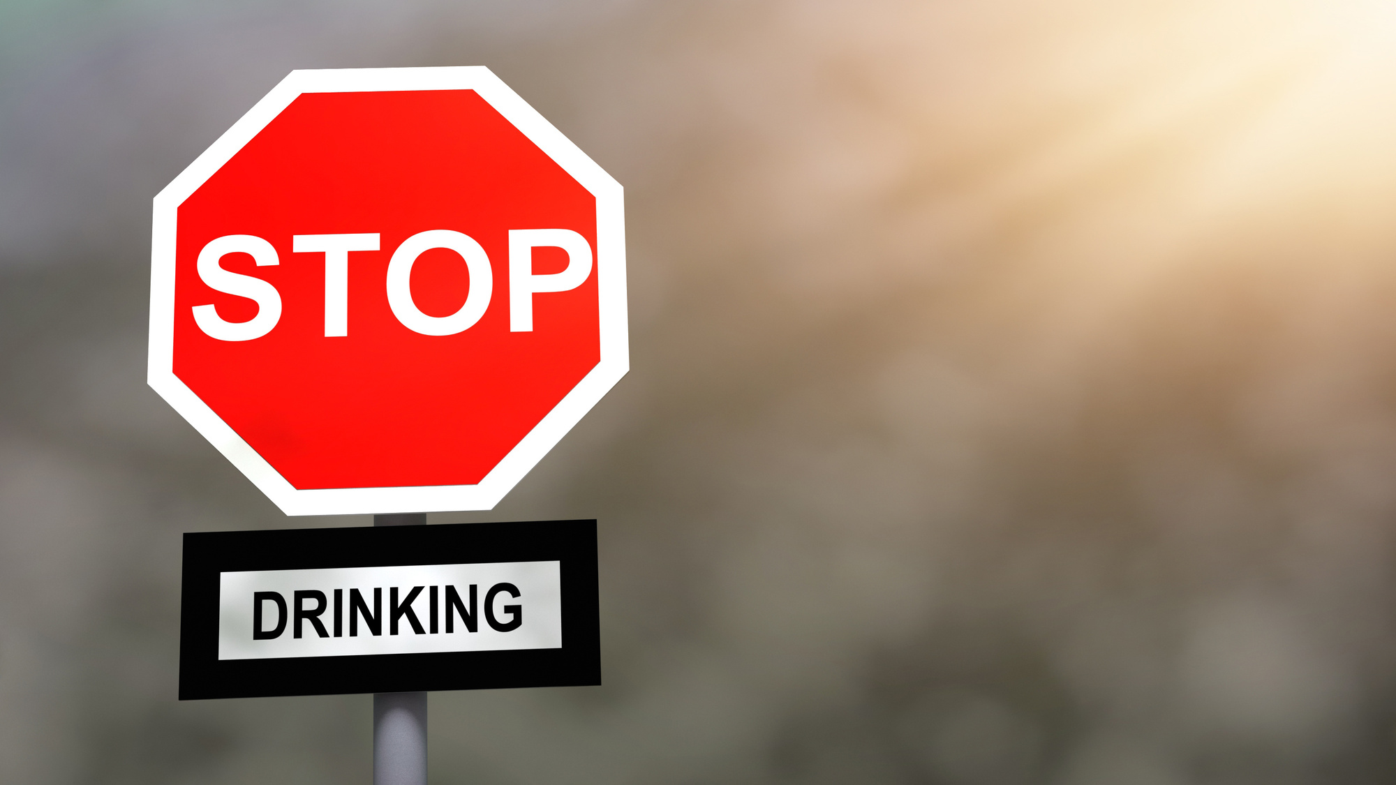 Stop drinking problem sign. Prevention and cure alcohol addiction problem concept.