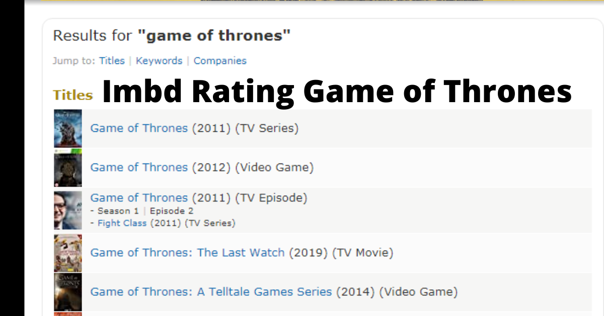 imbd rating game of thrones