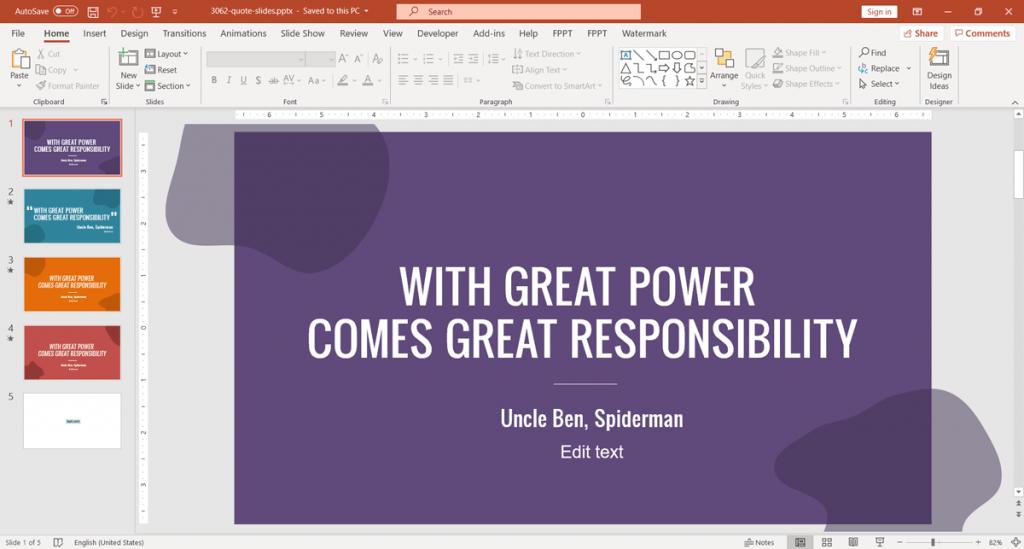 Quote slide design template